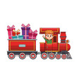 cute boy in train with gifts cartoon vector image