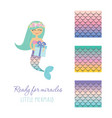cute mermaid with birthday present box and scale vector image vector image