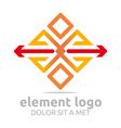 element red arrow orange design symbol icon vector image vector image