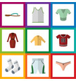 Flat dress set of t-shirt lingerie singlet and vector image