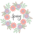 floral doodles wreath in entangle style circle vector image