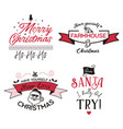 funny merry christmas graphic prints set t shirt vector image