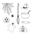 hand drawn halloween scary icons or elements vector image vector image