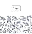 hand drawn spa elements background vector image vector image