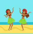 hawaiian girl in grass skirt with hibiscus in vector image vector image