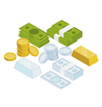 isometric coins money gold bar vector image