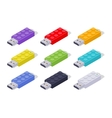 Isometric colored USB flash-drives in a shape of vector image vector image