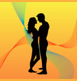 landscape of couple in a sunset vector image vector image