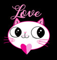 loving kitten with a heart vector image vector image