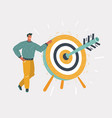 man holding dart board with direct hit on target vector image