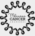 Melanoma cancer awareness ribbon design with text vector image vector image