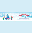 merry christmas horizontal banner cute elfs neat vector image
