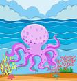 octopus in ocean vector image vector image