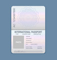 open passport template vector image vector image