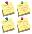paper notes with i love you words vector image vector image