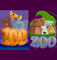 park zoo banner set cartoon style vector image