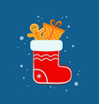 red christmas sock and christmas gingerbread man vector image vector image