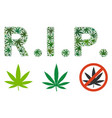 rip text collage of weed leaves vector image
