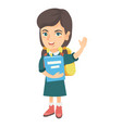 schoolgirl holding a book and waving her hand vector image vector image