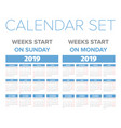 simple 2019 year calendar set vector image vector image