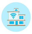 smart house icon on blue background modern home vector image