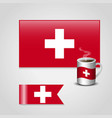 switzerland flag printed on coffee cup and small vector image
