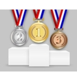 Three medals on podiumn vector image vector image