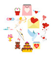 valentines flat icons set vector image