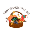 Wooden basket with turkey and vegetables vector image vector image