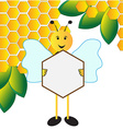 Happy bee holding sign board vector image