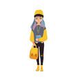 cartoon teen girl student with book vector image