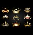 golden crown set vector image