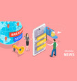 3d isometric flat concept online news vector image vector image