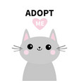 adopt me dont buy gray cat silhouette pink heart vector image vector image