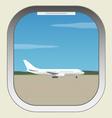 Airport Aircraft illuminator window view vector image