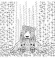 Bamboo panda coloring page vector image vector image