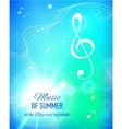 blue background with music notes and key vector image vector image