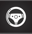 car steering wheel icon on black background for vector image