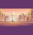 cartoon background street basketball vector image vector image