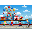 cartoon of children having fun on the lakeside wit vector image