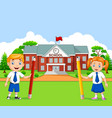 cartoon school kids in school yard vector image vector image