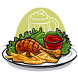 chicken leg with fries vector image vector image