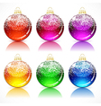 Christmas glass balls with a golden cap and loop vector image