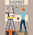 construction engineer with work tools engineering vector image vector image
