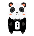 cute panda in black tuxedo cartoon kawaii animal vector image vector image
