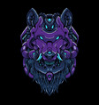 cyber wolf head vector image