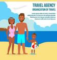dark skin family on resort travel postcard vector image vector image