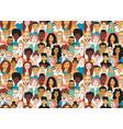 decorative diverse womens mens head seamless vector image vector image