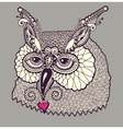 digital drawing of owl head vector image vector image