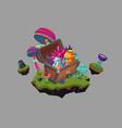 fantasy landscape with a treasure chest cartoon vector image vector image